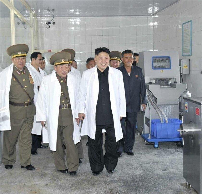Imagen sin fechar facilitada hoy por la Agencia Central de Noticias norcoreana KNCA, que muestra al líder norcoreano, Kim Jong-un (c-dcha), durante una visita a una granja porcina filial del Ejército norcoreano situada en una localización no desvelada. EFE/KCNA