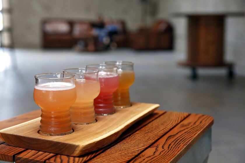 A variety of poured ciders (front to back): cranberry and Coriander fresh hopped cider, Belgium Pineapple, Wyld Cyder with marion berry and Sleepless in Sumatra coffee cider. (Nancee E. Lewis)