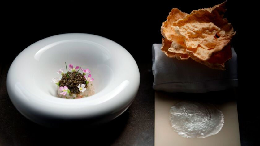 Spot prawn jewels, golden ossetra caviar and finger lime at Providence in Los Angeles.