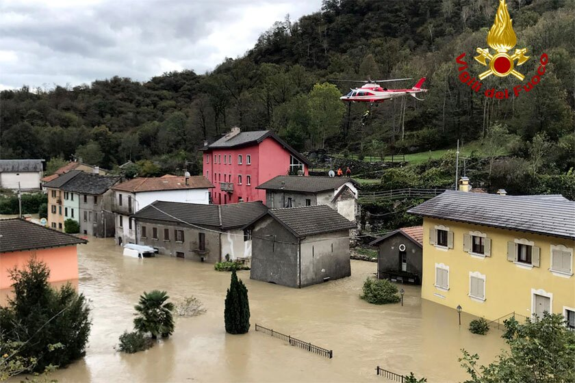 A rescue helicopter in the flooded Italian region of Piedmont on Sunday.