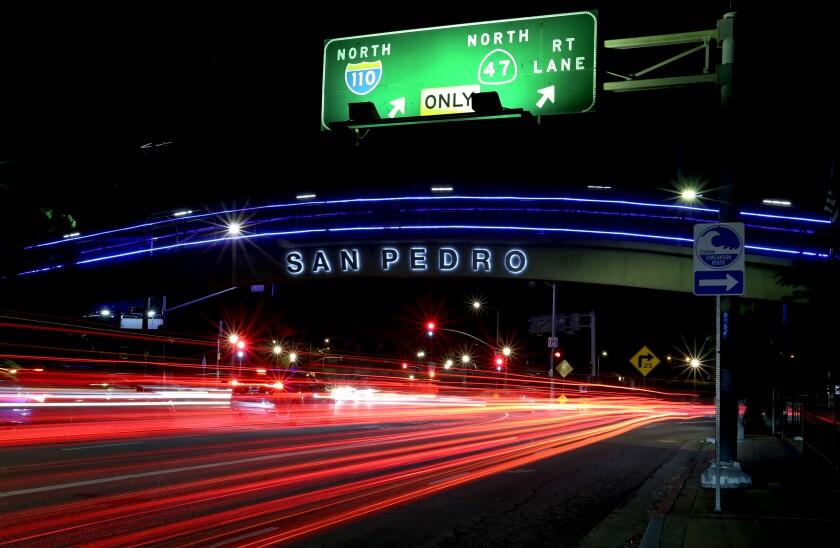 "The Gaffey Street offramp of the 110 Freeway bears the neighborhood name ""San Pedro"""