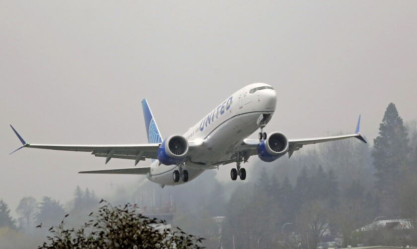 A United Airlines Boeing 737 Max airplane takes off in 2019.