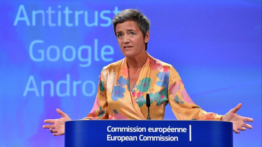 European Union Competition Commissioner Margrethe Vestager gave a joint news conference at the EU headquarters in Brussels on Wednesday.