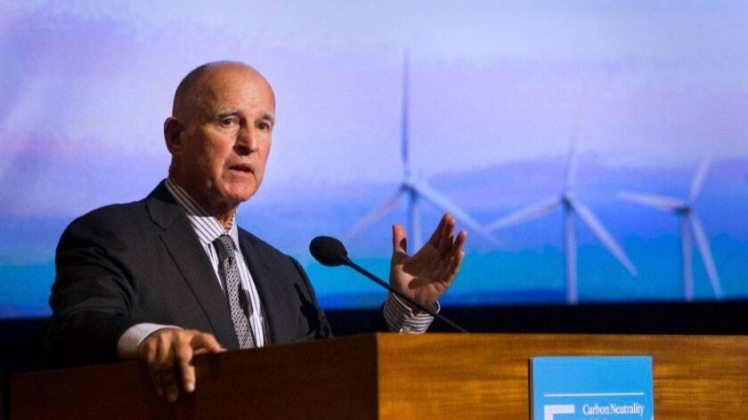 California Gov. Jerry Brown addresses the University of California Carbon and Climate Neutrality Summit in San Diego.