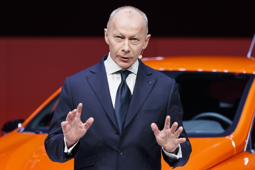 FILE - In this Tuesday, March 5, 2019 file photo, Thierry Bollore, Renault Chief Executive Officer, speaks during the presentation of the new Renault Clio as part of the press day at the '89th Geneva International Motor Show' in Geneva, Switzerland. French carmaker Renault has dismissed its chief executive officer, overhauling its leadership once again after the jailing of its previous chairman and CEO. The decision by the board on Friday Oct. 11, 2019, to dismiss Thierry Bollore was effective immediately. (Cyril Zingaro/Keystone via AP, File)