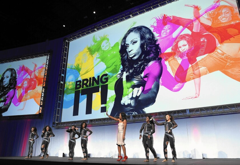 The Dancing Dolls perform at the 2015 A+E Networks upfront presentation in April. Broadcast and cable networks will unveil their fall programming plans next week during the annual event.
