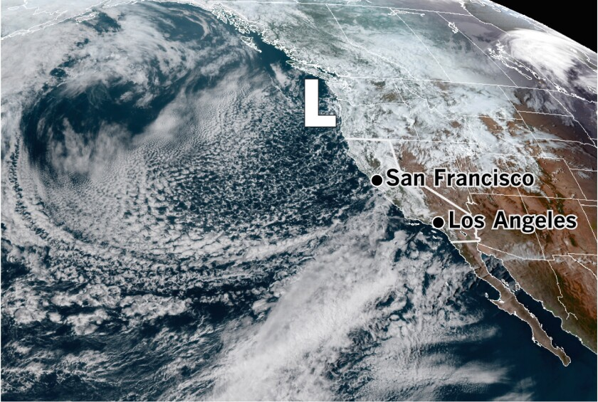 Low pressure off the Pacific Northwest seen in a satellite photo taken at 4:50 p.m. March 24.