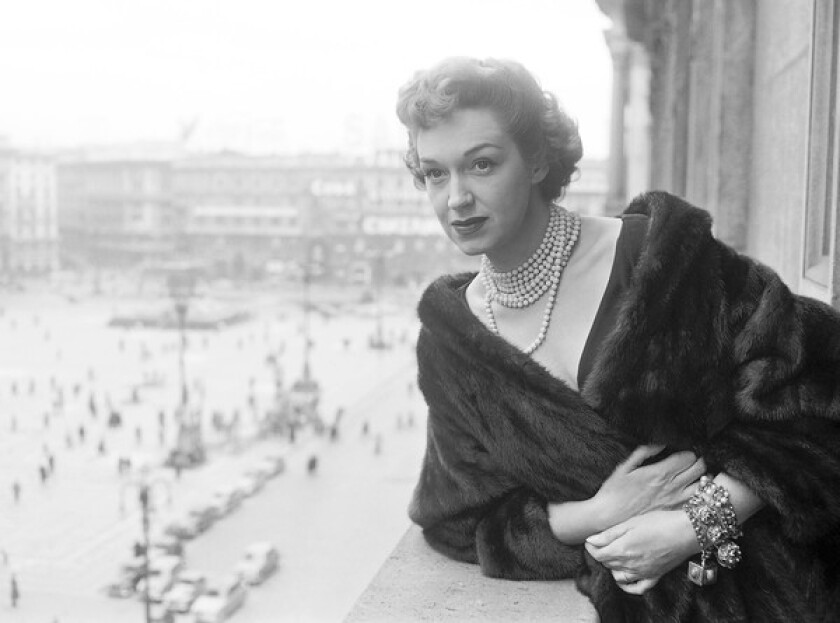 Rise Stevens in Milan, Italy, in 1954. Stevens sang with the Metropolitan Opera for more than 20 years.
