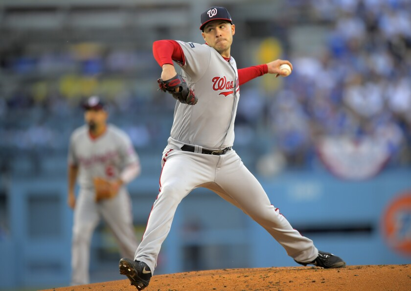 Washington Nationals pitcher Patrick Corbin delivers against the Dodgers in Game 1 of the NLDS on Thursday.