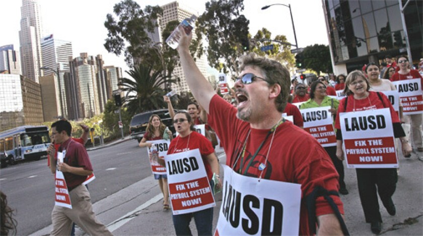 PROTEST: In September, teachers demonstrated in front of district headquarters.