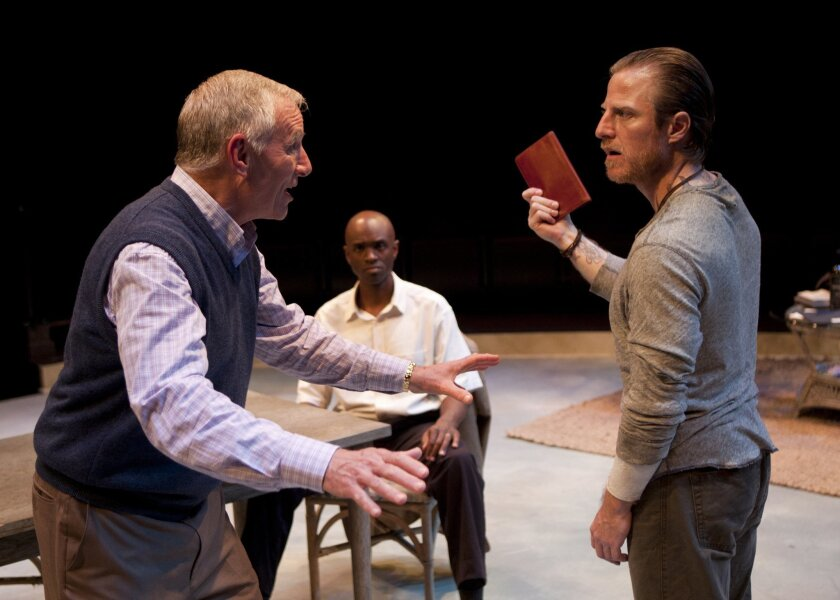 """Ned Schmidtke as Smith, Owiso Odera as Thami and Antony Hagopian as Johan in the Old Globe Theatre's """"Groundswell."""""""