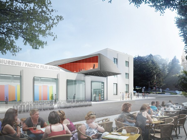 A rendering shows the Berkeley Art Museum and Pacific Film Archive entry from Center Street.