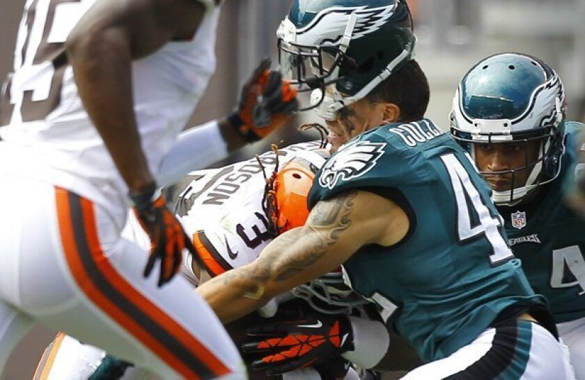 Trent Richardson knocked Kurt Coleman's helmet off with this violent hit last season, which the NFL used as an example of plays it wanted to penalize starting next season.
