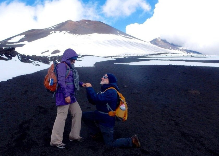 Robert Weisgrau proposed to Victoria Monaco on the top of Mount Etna in Sicily, Italy, in 2014.