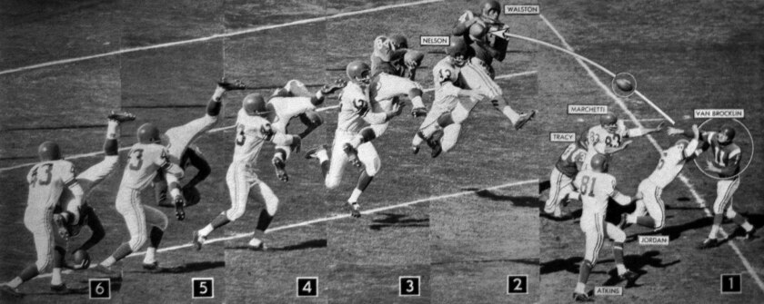 Jan. 15, 1961: In this six-photo sequence, Norm Van Brocklin passes to Eagle teammate Bobby Walston,