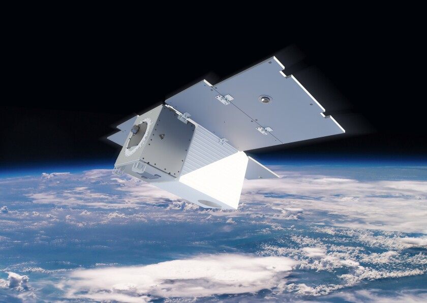 A rendering of a satellite in space over Earth.