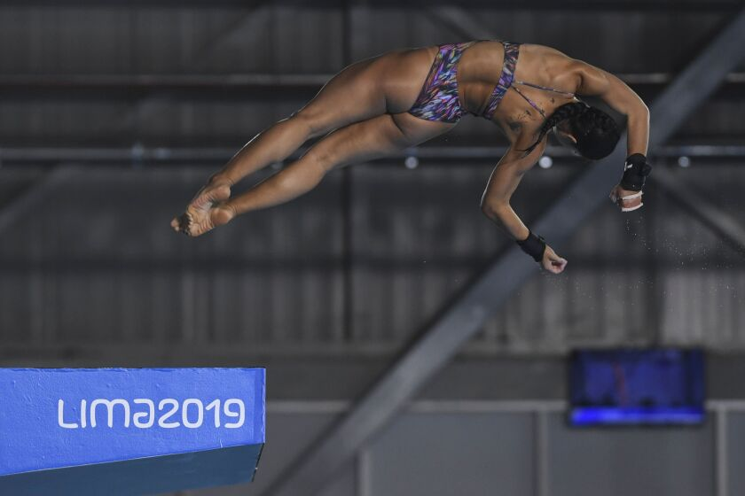 Brazil's Ingrid De Oliveira performs during the Women's 10M Platform preliminary event of the Pan-American Games Lima 2019 in Lima, on August 3, 2019. (Photo by PEDRO PARDO / AFP)PEDRO PARDO/AFP/Getty Images ** OUTS - ELSENT, FPG, CM - OUTS * NM, PH, VA if sourced by CT, LA or MoD **