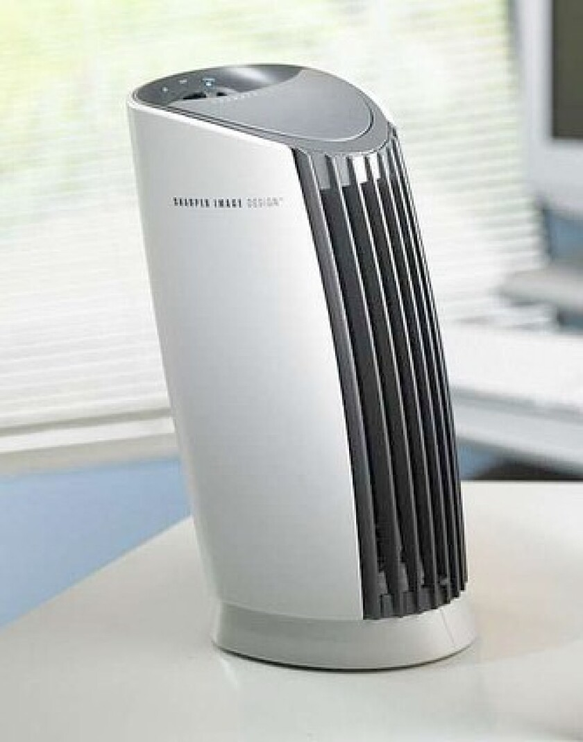 FANLESS: Ionic air purifiers such as the Ionic Breeze electrify particles — which may then go stick to walls or the TV.