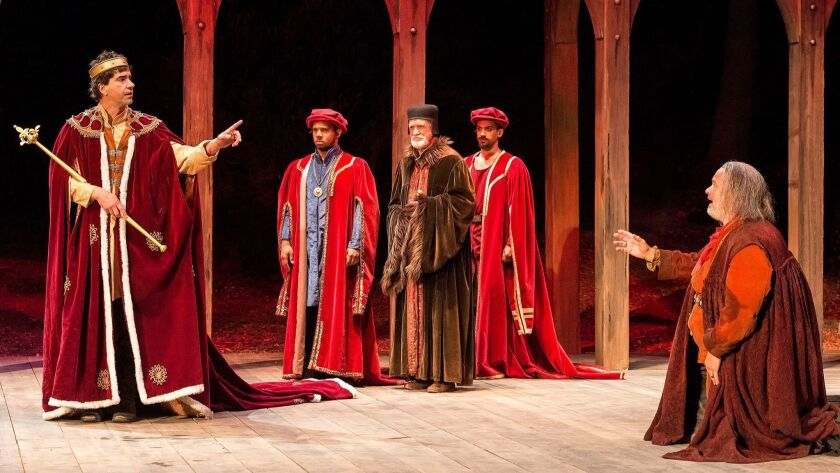 """Hamish Linklater as Hal, left, and Tom Hanks as Falstaff, far right, in the Shakespeare Center of Los Angeles' """"Henry IV."""""""
