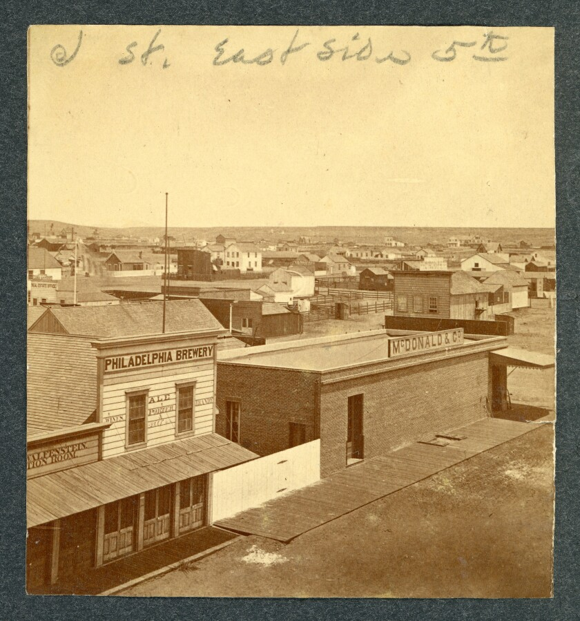 An 1874 photo of San Diego shows the Philadelphia Brewery, near the corner of 5th Avenue and J Street.