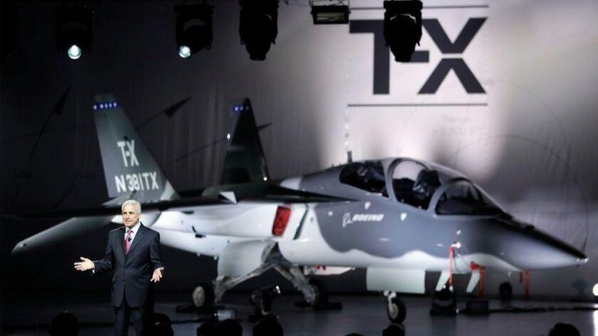 Darryl Davis, president of Boeing Phantom Works, speaks at an event to reveal Boeing's T-X trainer aircraft on Sept. 13, 2016, in St. Louis. The Air Force plans to buy about 350 of the T-X aircraft.