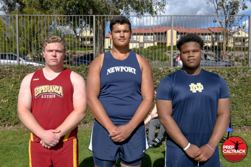 Shotputters Jeff Duensing (Esperanza), Aidan Elbettar (Newport Harbor) and Quintin Lyons (Sherman Oaks Notre Dame) are scheduled to compete in the John Godina Elite Throwers event at Notre Dame on March 7.