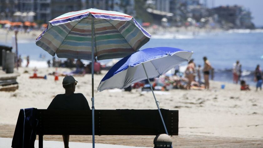 LAGUNA BEACH, CA, JUNE 26, 2017: The umbrellas are lined-up along the sand at Laguna Main Beach wher