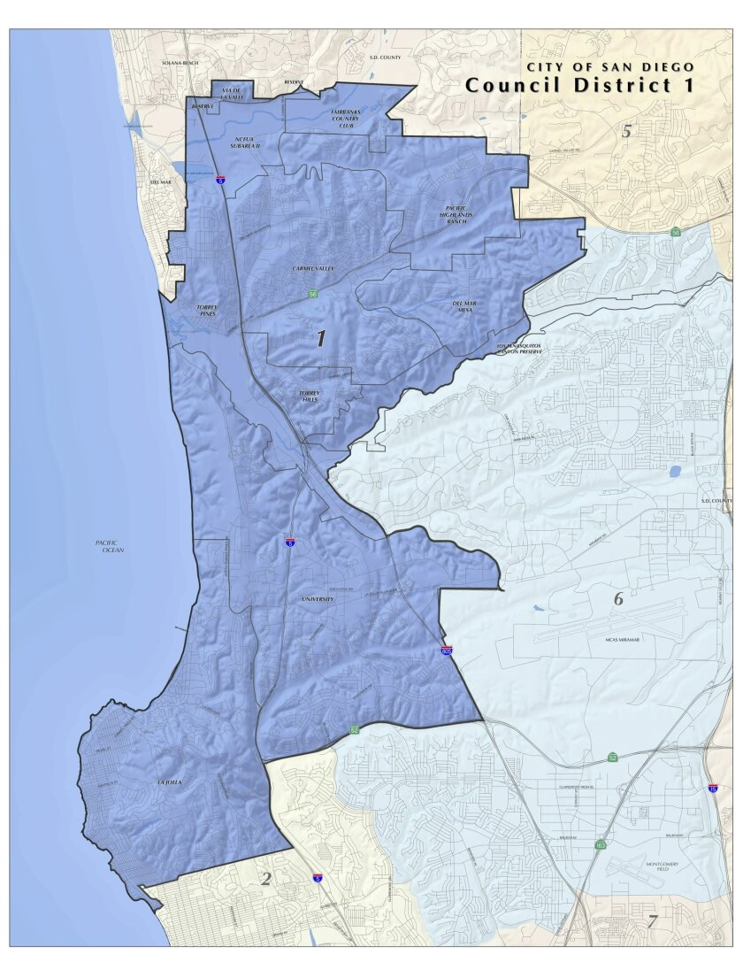 The newly reconfigured City Council District 1 (in dark blue) includes the entirety of La Jolla. Courtesy City Clerk