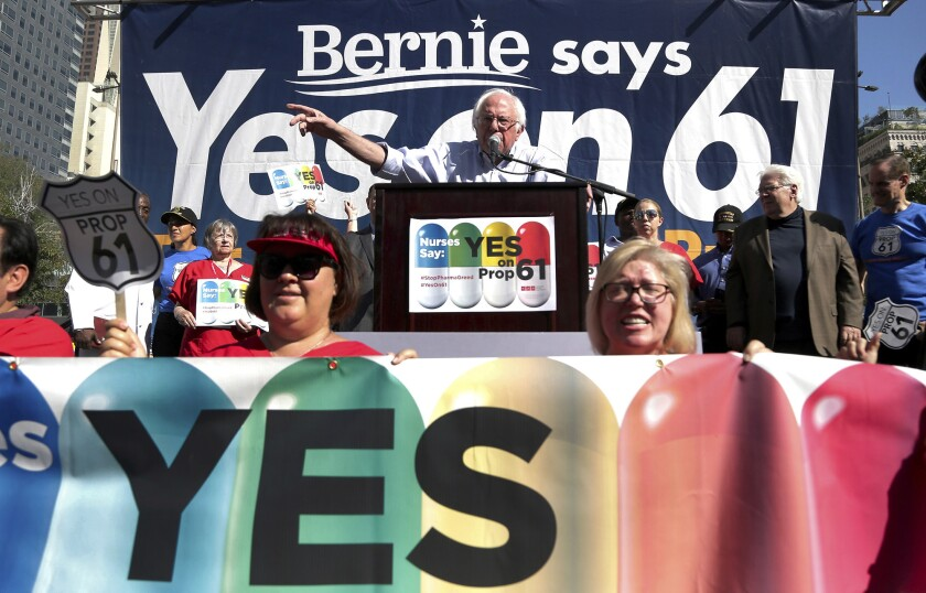 U.S, Sen. Bernie Sanders (I-Vt.) campaigns for Proposition 61 in Los Angeles on Nov. 7. The ballot initiative focused on state government costs for prescription drugs. One of 17 statewide propositions, it was rejected by voters.