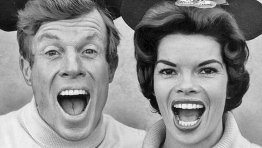 Ginny Tyler, shown with Jimmie Dodd, was an actress and voice actor who served as Head Mouseketeer in 1962 when the original 'Mickey Mouse Club' show was re-edited and repackaged for syndication.
