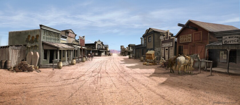 "Concept art of the town from ""The Ballad of Buster Scruggs."" Ethan and Joel Coen's frequent collabor"