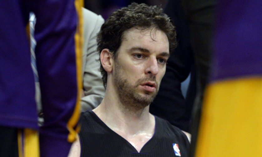 Lakers center Pau Gasol looks on from the bench during a game against the Washington Wizards on March 21. Will Gasol be back on the Lakers next season?