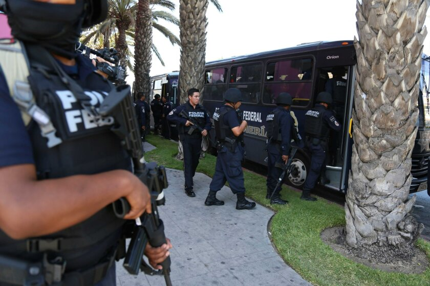 Members of the newly created Gendarmerie Divsion of Mexico's Federal Police arrived in Tijuana this week.