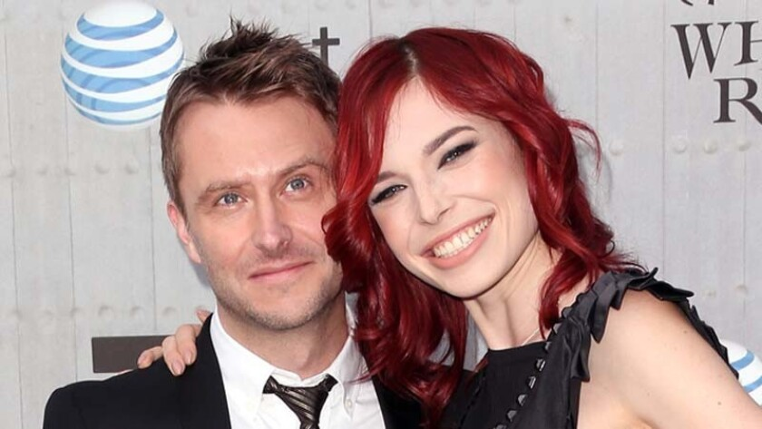 Chris Hardwick and Chloe Dykstra in 2014.