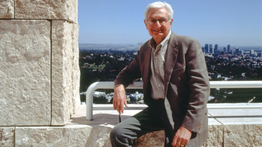 Harold Williams at the Getty Center with the L.A. skyline in the background.