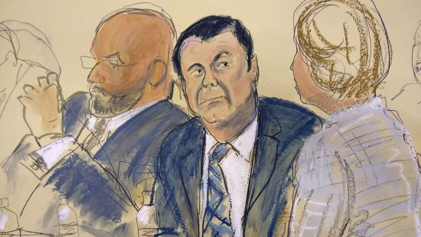"FILE - In Nov. 13, 2018 file courtroom drawing, Joaquin ""El Chapo"" Guzman, center, sits next to his"