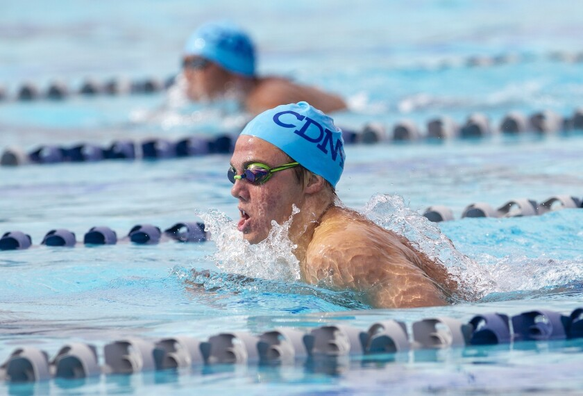 Corona del Mar's Tanner Pulice takes first place in the 200 individual medley during the Battle of t