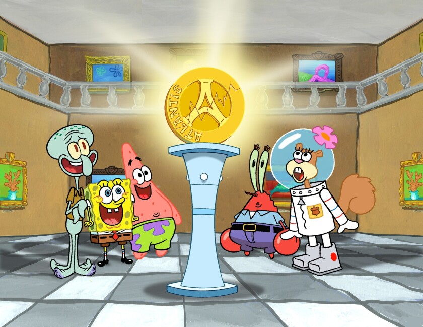 A Krusty Krab restaurant modeled after SpongeBob SquarePants' workplace, is slated to open on the West Bank. Pictured are the show's characters, from left, Squidward, SpongeBob SquarePants, Patrick, Mr. Krabs and Sandy Cheeks.