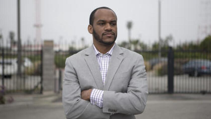 Damien Goodmon, head of the Crenshaw Subway Coalition, is opposed to the construction of a 30-story building at the foot of Baldwin Hills.