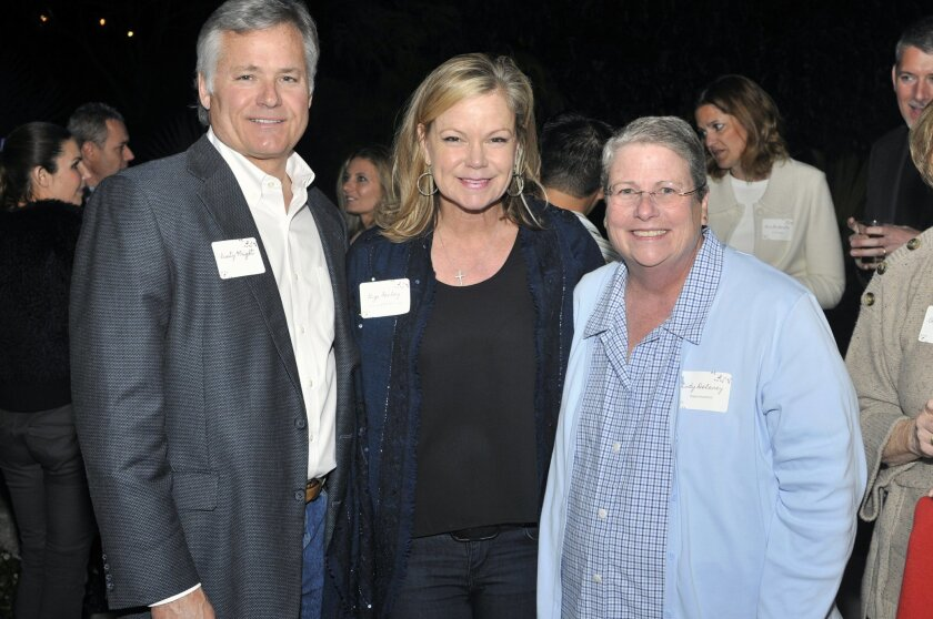 Rusty Wright, RSF Education Foundation founding member Gigi Fenley, and Rancho Santa Fe School District Superintendent Lindy Delaney at a recent event.