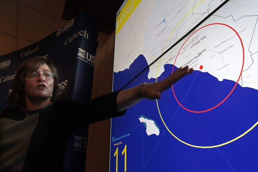 At a news conference in January 2013, Lucy Jones of the U.S. Geological Survey explains how the agency's earthquake warning system takes advantage of the gap in time between a quake's initial vibrations and the more powerful and damaging waves that follow.