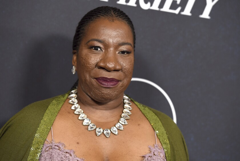 In this Oct. 12, 2018 file photo, #MeToo founder Tarana Burke arrives at Variety's Power of Women event in Beverly Hills, Calif.