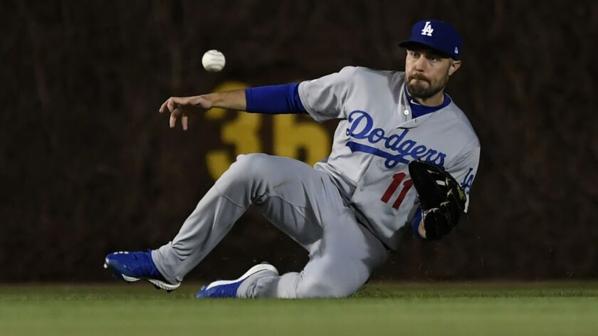 Los Angeles Dodgers center fielder A.J. Pollock catches a fly ball hit by Chicago Cubs' Cole Hamels