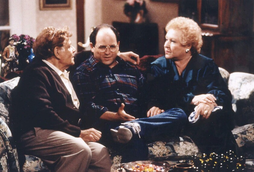 "Jerry Stiller, left, Jason Alexander and Estelle Harris in an episode of ""Seinfeld."""