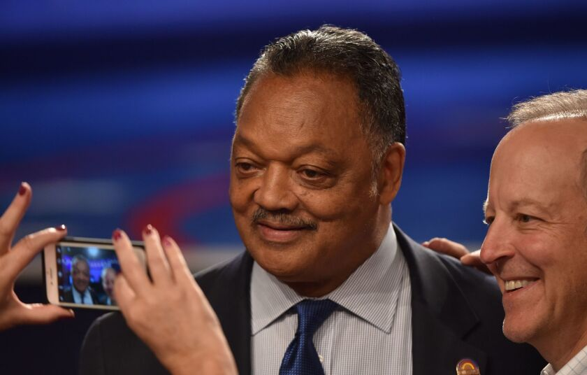 The Rev. Jesse Jackson, shown in 2016, said Sunday at the Islamic Center of Southern California that he endorsed removing monuments to Confederate leaders.