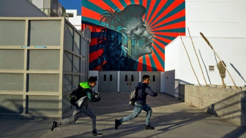 Some residents of Koreatown say that part of the mural depicting Ava Gardner at the Robert F. Kennedy Community Schools complex resembles the imperial battle flag of Japan.