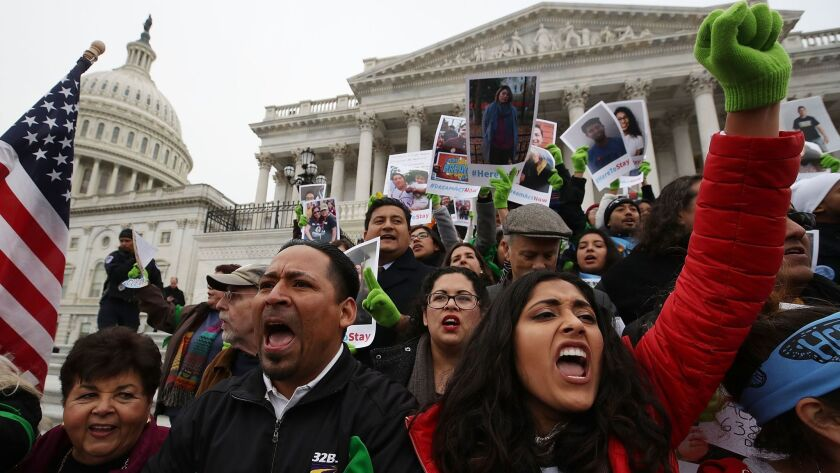 Supporters of the Deferred Action for Childhood Arrivals program protest outside the U.S. Capitol on Dec. 6, 2017.