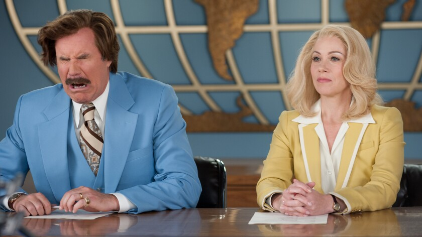 "Will Ferrell is Ron Burgundy and Christina Applegate is Veronica Corningstone in ""Anchorman 2: The Legend Continues."""