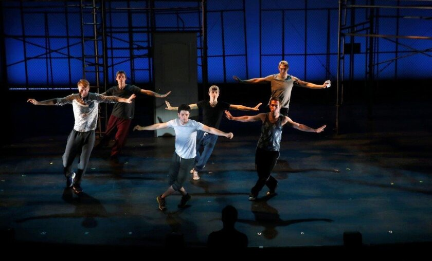 """Cast members of San Diego Musical Theatre's """"West Side Story"""" rehearse a scene at the Spreckels Theatre."""