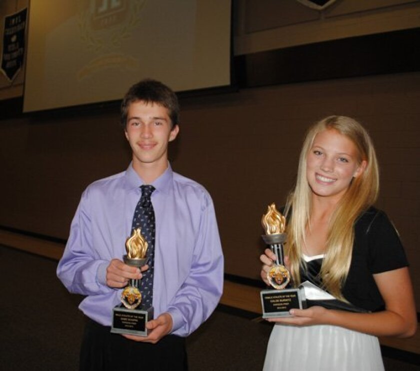 Horizon Prep 2013 Athletes of the Year (L-R) Gabe Schippa and Chloe Burnitz.